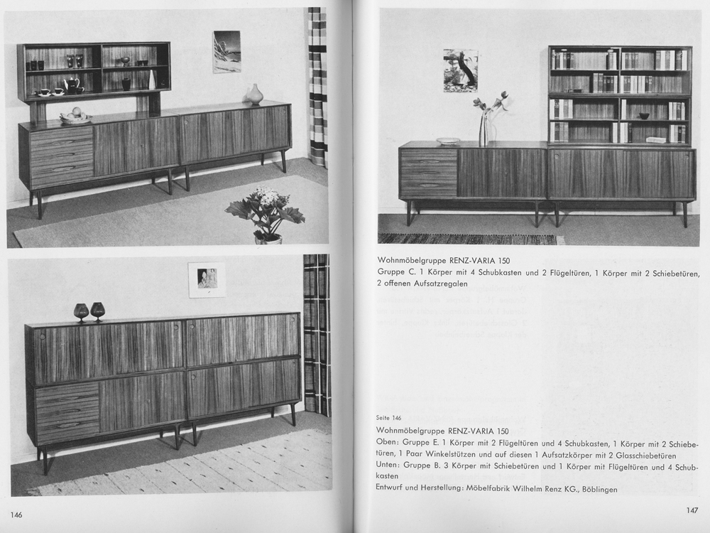 teak sideboard varia 150 wilhelm renz 1958 schubladen. Black Bedroom Furniture Sets. Home Design Ideas
