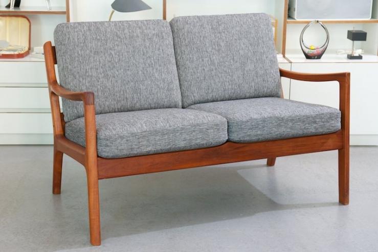 senator double chair by ole wanscher 1951 grau meliert bliss modern antiques. Black Bedroom Furniture Sets. Home Design Ideas