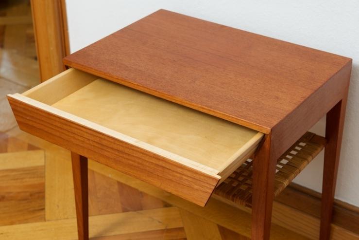 kleiner bestelltisch couchtisch mit schublade dansk teak bliss modern antiques. Black Bedroom Furniture Sets. Home Design Ideas