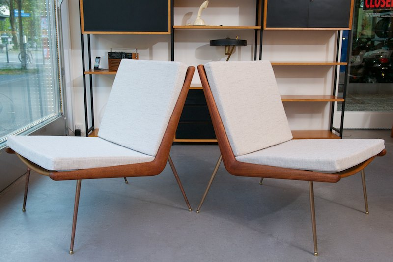 lounge chair duo boomerang by peter hvidt 1956 topcare fleckschutz garantie bliss modern. Black Bedroom Furniture Sets. Home Design Ideas