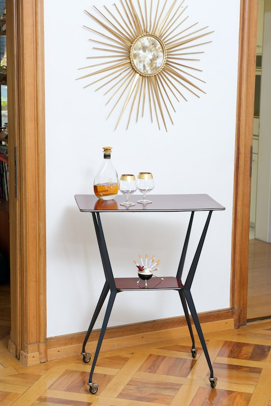 hoher beistelltisch bar tisch mahogany italy 1956 bliss modern antiques. Black Bedroom Furniture Sets. Home Design Ideas