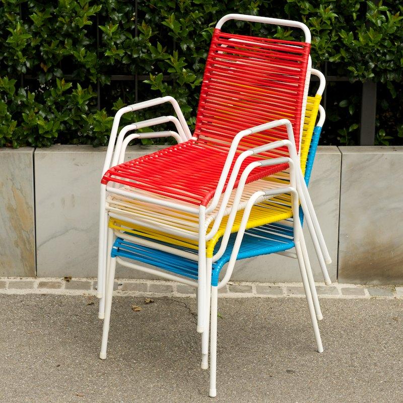 4er set bunte spaghetti gartenst hle mauser 1956 bliss modern antiques. Black Bedroom Furniture Sets. Home Design Ideas
