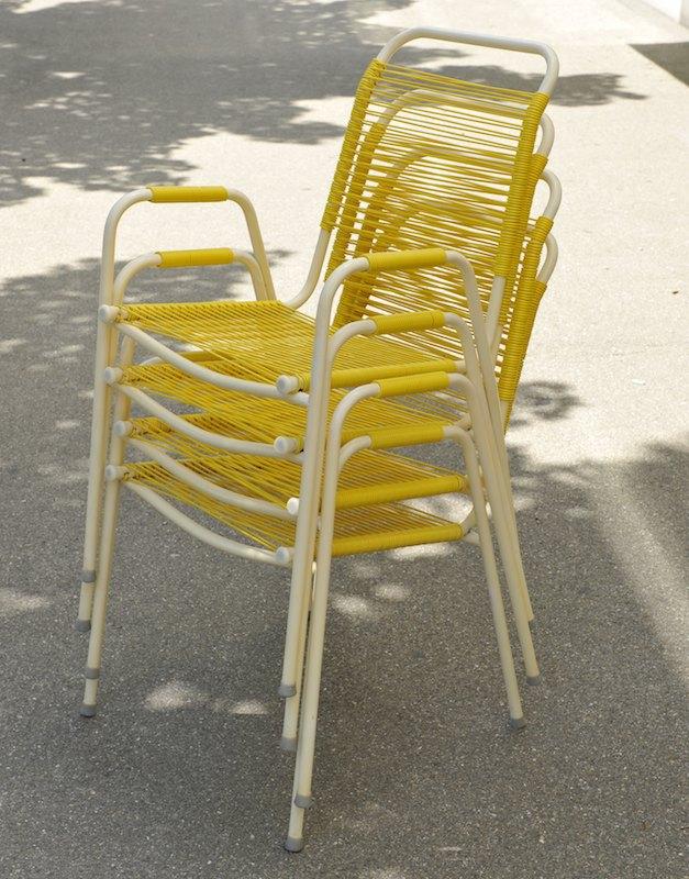 4er set spaghetti gartenst hle gelb weiss bliss modern. Black Bedroom Furniture Sets. Home Design Ideas