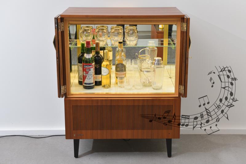 Beleuchtet Verspiegelt Sideboard Luxus Music Bar Walnut 1963