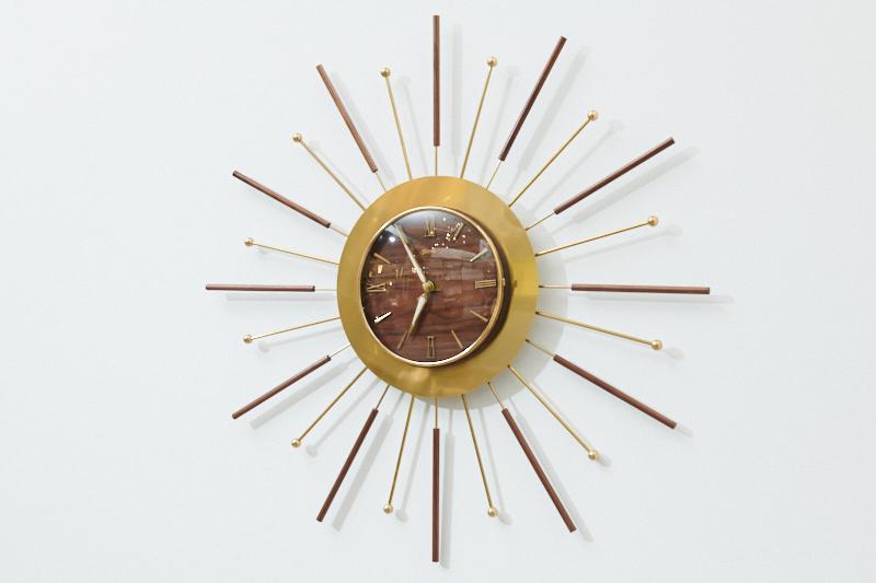Wall Clock Wanduhr Sunburst 50er 60er 50s 60s 158528 01
