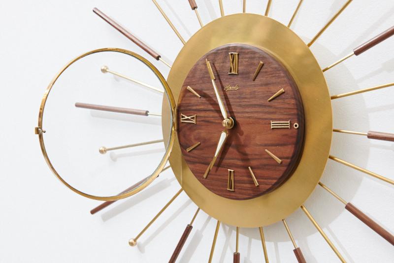 Wall Clock Wanduhr Sunburst 50er 60er 50s 60s 158528 02